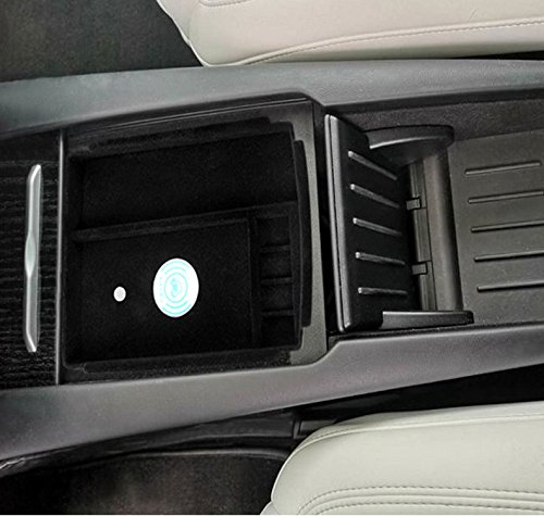 EEkiimy Wireless Charging Holder Car Centor Console Armrest Organizer Storage Box Container Glove Pallet for Tesla Model X Model S 2016 2017 2018,for iPhone X only iPhone X Wireless Charger Pad 4351661970