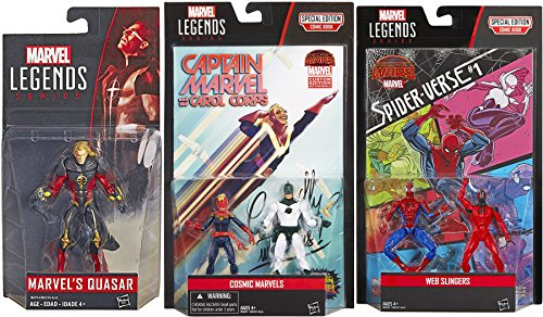 Marvel Legends Action Figures with Comic Book Sider-Man Web Slingers & Captain Marvel & Carol Corpse Cosmic Special Edition Pack 3.75