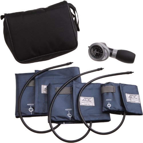 ADC Multikuf 731 3-Cuff EMT Kit with 804 Portable Palm Aneroid Sphygmomanometer, Small Adult, Adult and Large Adult Blood Pressure Cuffs (19-50 cm), Black Nylon Zipper Storage Case, Navy