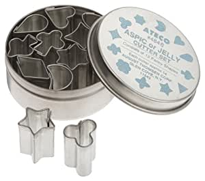 Ateco 4846 Plain Edge Aspic or Jelly Cutter Set in Assorted Shapes, Stainless Steel, 12 Pc Set