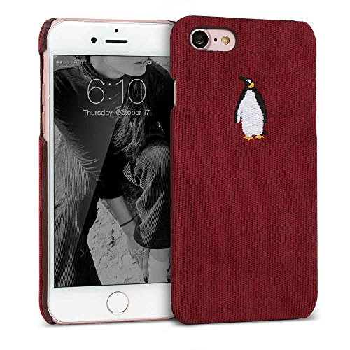Case Embroidered Phone (iPhone 7 / iPhone 8 Case DesignSkin [CORDUROY] Embroidered Soft Fabric Slim Fit Thin Lightweight Non-Slip Grip Luxurious Cute Unique Fashion Embroidery Design Penguin Character Hard Cover (Burgundy))