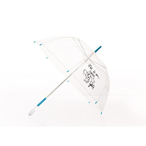 "Paraguas transparente con frase: ""¡No!... si son cuatro"