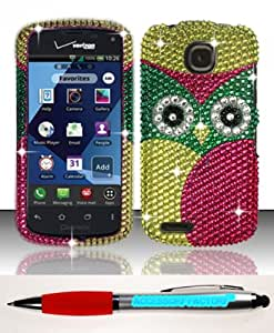 Accessory Factory(TM) Bundle (the item, 2in1 Stylus Point Pen) For Pantech Marauder ADR910L (Verizon) Full Diamond Design Case Cover Protector - Owl FPD Stylish Bling Snap On Hard Faceplate Shell