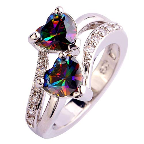 Aunimeifly Women's Exquisite Double Love Heart Zircon Ring White Topaz Inlay Silver Ring