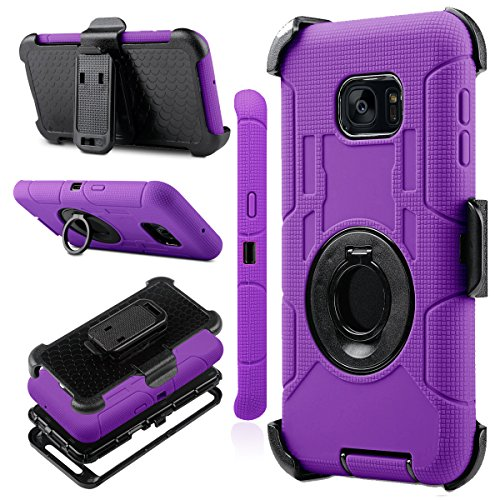 Galaxy S7 Edge Case, J.west Full-body Rugged Shock Absorbing Holster Case WITHOUT Built-in Screen Protector for Samsung Galaxy S7 Edge 5.5 inch with Rotating Kickstand Swivel Belt Clip (Purple/Black)