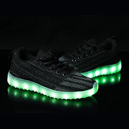 BOKEN Männer Frauen Mode LED Schuhe Atmungs Licht Up USB Lade Blinken Turnschuhe Mit Fernbedienung Schwarzgrau