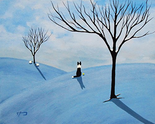 Border Collie Dog LARGE Folk art print by Todd Young WINTER HILLS