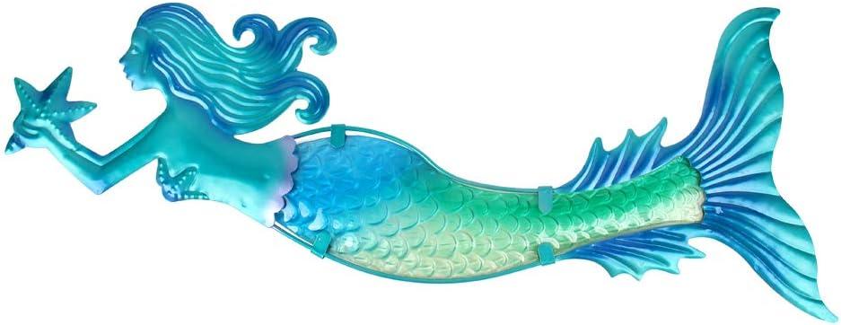 """Swimming Mermaid Metal Wall Art teal tainted 18/"""" wide"""
