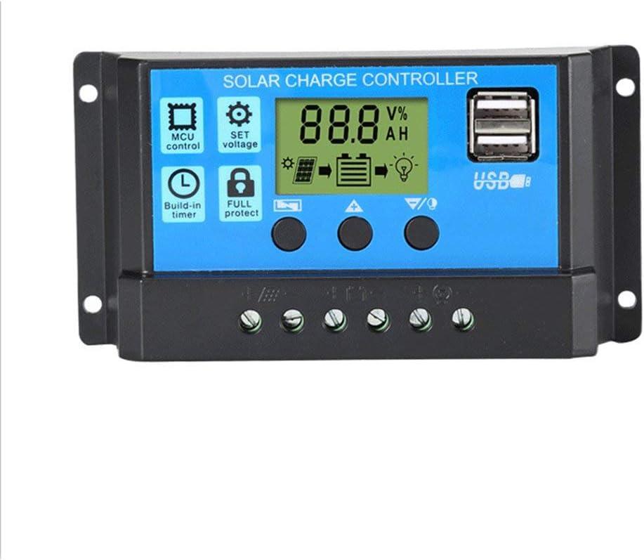 JIE Controlador de Cargador Solar 60A 50A 40A 30A 20A 10A 12V 24V Cargador de batería LCD Negro y Azul 10A
