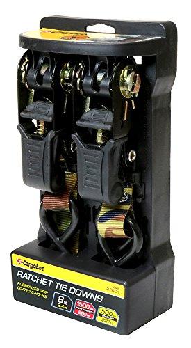 8' Camo (Premium Ratchet Tie Downs - 2 Pk - 8 Ft - 500 Lbs Load Cap - 1,500 Lbs Break Strength - Cargo Straps for Moving Appliances, Lawn Equipment, Motorcycles, etc. - CAMO)