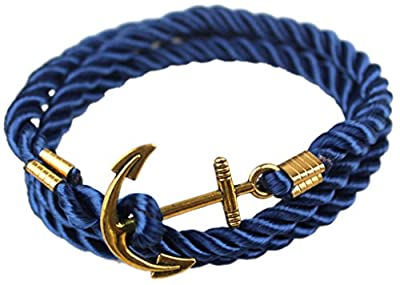 Hallery Alloy DIY Twining Weave Gilded Anchors Rope Bracelets
