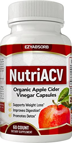 EzyAbsorb Premium Apple Cider Vinegar - Weight Loss, Detox, Digestion & Circulation Support - Powerful 625mg Cleanser, Non-GMO Capsules Plus Cayenne & Bioperine