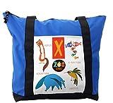 Lunarable ABC Kids Shoulder Bag, Cute Wildlife Illustration, Durable with Zipper