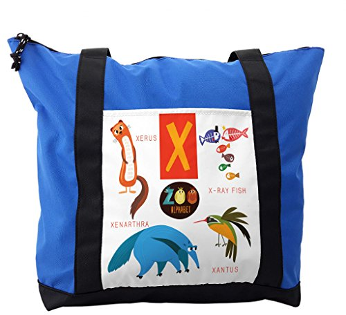 Lunarable ABC Kids Shoulder Bag, Cute Wildlife Illustration, Durable with Zipper by Lunarable