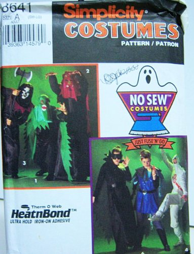 Simplicity 8641 No Sew Scary Costumes Adult Sm, Med, Lg (32 to 42)
