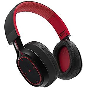 BlueAnt - Pump Zone Over Ear HD Wireless Headphones, 30+ hour battery, Mega Bass and Enhanced Sound Purity (Red)
