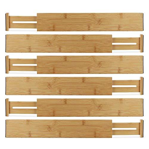 - Horizons Adjustable & Stackable 100% Eco-Friendly Bamboo Drawers (Set of 6) - Kitchen Drawer, Desk, Dresser, Bathroom; Divide & Organize