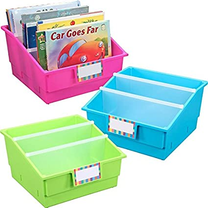 Charmant Really Good Stuff Large Plastic Labeled Book Organizer Bin   Neon Colors