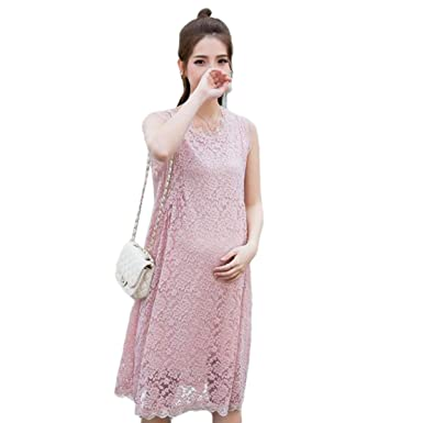00b47b19b7 Nat Terry Maternity Dress Summer Fashion Sleeveless Pleated Waist ...