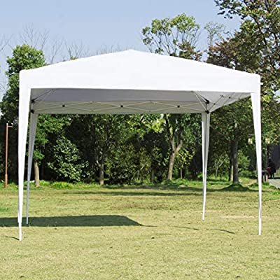 Easyzon Pop Up Patio EZ Canopy Tent Heavy Duty Gazebo Pavilion Outdoor Party Commercial Instant Tents Impact Canopies,10 x 10 FT (White) : Garden & Outdoor