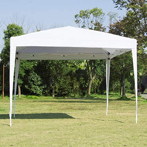 Easyzon Pop Up Patio EZ Canopy Tent Heavy Duty Gazebo Pavilion Outdoor Party Commercial Instant Tents Impact Canopies 10 x 10 FT White