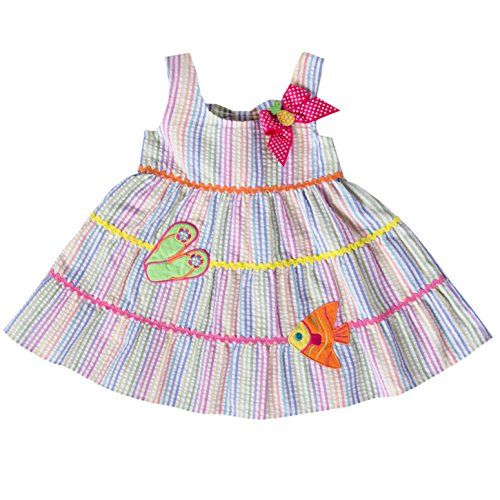 Seersucker Sundress (Girl Seersucker Sundress with Flip Flop and Tropical Appique (6))