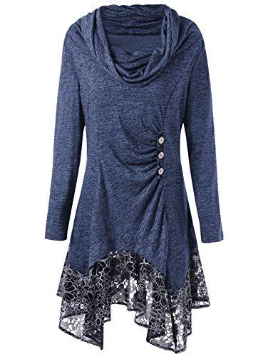 Summer-lavender Women's Long-Sleeved Hem lace Irregular Dress,Denim