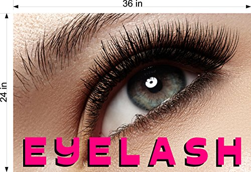 Cmyads.net Eyelash VIII Eyelashes Eye Lash Extensions Woman Cosmetic Perforated Window Removing Hair See Though Salon Poster Vinyl 70/30 Tweezers Thin Out Shape Vertical (36