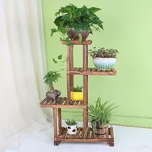 Storage Rack Shelves Removable Storage Shelf Solid Wood Multi-storey Anti-corrosion Carbonized Flowerpot Frame Indoor Living Room Green Plant Frame ( Design : 1 )