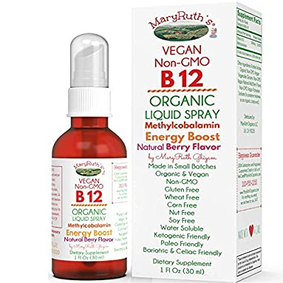 Organic Vitamin B12 (Methylcobalamin) Liquid Sublingual Spray by MaryRuth Energy Boost - Sugar Free - Non-GMO Vegan - Gluten Free - Paleo - Bariatric & Celiac 1oz Glass Bottle