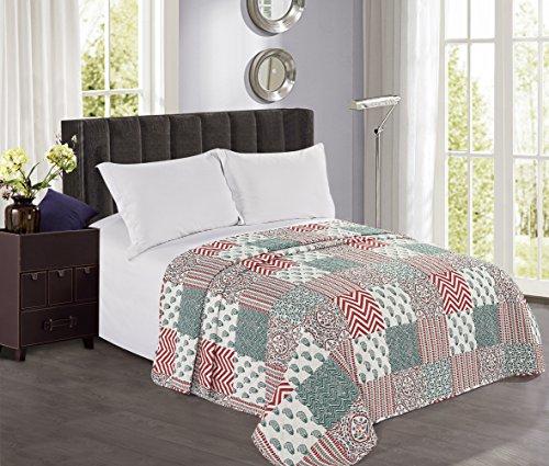 couvre lit patchwork vert DecoKing 170x270 cm Couvre lit Rouge Vert Blanc Patchwork Facile à  couvre lit patchwork vert