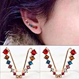 Sumanee Gold Rhinestone Women Ear Stud Earrings Crystal Silver Plated