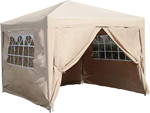 fam famgizmo 3x3m Pop Up Waterproof Gazebo Beige Garden Party Tent with 4 Side Panels (Two with Windows) and 4 Leg Weight Bags Beige