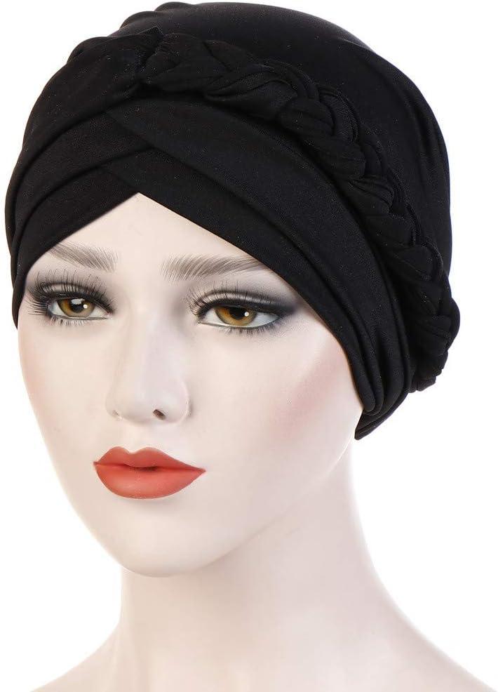 Zimuuy Damen Muslimischer Hut Beanie M/ütze Solide Zopf Turban Hat Chemo Kopfbedeckung