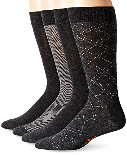 Dockers Men's 4 Pack Herringbone Dress, Charcoal Assorted, Sock Size:10-13/Shoe Size: - Charcoal Mens Dress