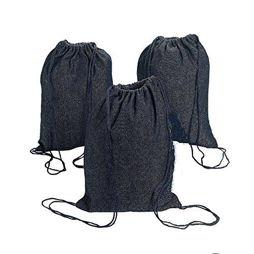 Denim Drawstring Backpacks