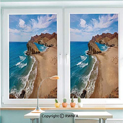 Window Door Sticker Glass Film,Ocean View Tranquil Beach Cabo De Gata Spain Coastal Photo Scenic Summer Scenery Anti UV Heat Control Privacy Kitchen Curtains for Glass,22.8 x 35.4 inch,Blue Brown