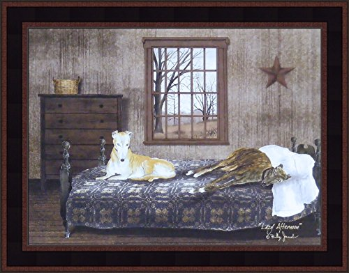 Lazy Afternoon by Billy Jacobs 15x19 Greyhound Dogs Laying On Bed Rustic Primitive Folk Art Wall Décor Framed Picture - Greyhound Dog Pictures