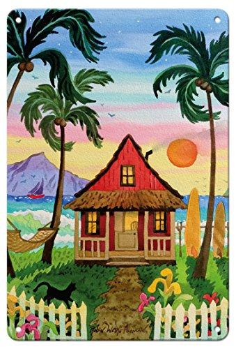 Pacifica Island Art 8in x 12in Vintage Tin Sign - Hati's Red Hut - Tropical Beach Hut - Hawaii - Hawaiian Islands Sunset by Robin Wethe Altman