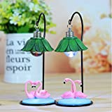 URTop 2Pcs Beautiful Resin Flamingo Miniature Crafts Creative Home Room Ornaments Children Night Light Small Table Lamp Home Decoration Christmas Valentine's Day Girlfriend Gifts