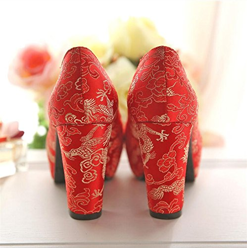 Wo And Phoenix Wedding Women'S With Dragon Shoes Shoes Retro Women Red Embroidery Soo HGTYU Thick Singles Shoes The 9Cm Shoes Bridal Red SqwOacF7Aa