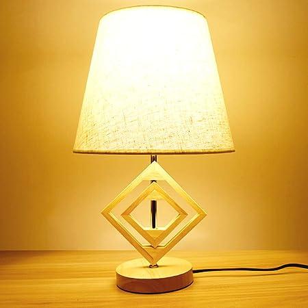 Lámpara de mesa de madera Mesita de noche con pantalla de tela para dormitorios Sala de estar Habitación para niños Oficina: Amazon.es: Hogar
