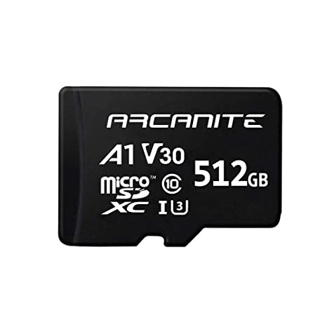 ARCANITE - Tarjeta de memoria microSDXC de 512 GB con adaptador, UHS-I U3, A1, V30, 4K, Clase 10, Micro SD - AKV30A1512