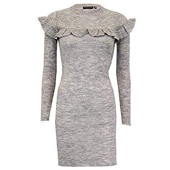 a5d080545b Damen Rüsche Kleid Brave Soul Damen gestrickt Lang gerippt Pullover Winter  Party - grau - 249fayette