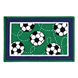 C&F Home Hooked Soccer Sport Rug, Green
