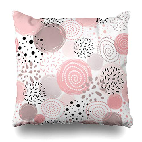 Homeyard Throw Pillow Cover Love Cute Polka Dot Abstract Decorated Pink Day Black Circles Round Shapes for Gold Shining Confetti Home Decor Sofa Cushion Square Size 20 x 20 Inches Zippered Pillowcase