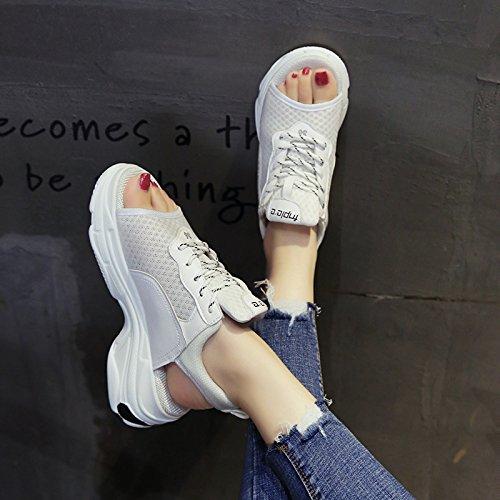 Vintage de Verano Playa Plataforma Sandalias Zapatos Piso blanco Universal QQWWEERRTT de Moda Gruesa Femeninas Deporte Estudiante Nuevo de Suela a0Axqw