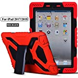New iPad 9.7 2018/2017 Case,HuiFlying Military Heavy Duty Rugged Hard PC Full-Body Shockproof case with Kickstand Built-in Screen Protect& Dual Layer Silicone for Apple New iPad 9.7 inch (Red+Black)