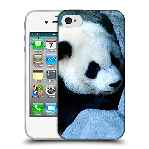 Just Phone Cases Coque de Protection TPU Silicone Case pour // V00004103 Charmant petit ours panda // Apple iPhone 4 4S 4G