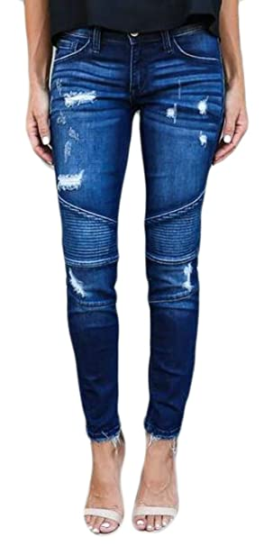 3b0ad1a1ae5 Fulok Womens Ripped Casual Stretch Frayed Ruched Denim Jeans Pants Dark Blue  XS